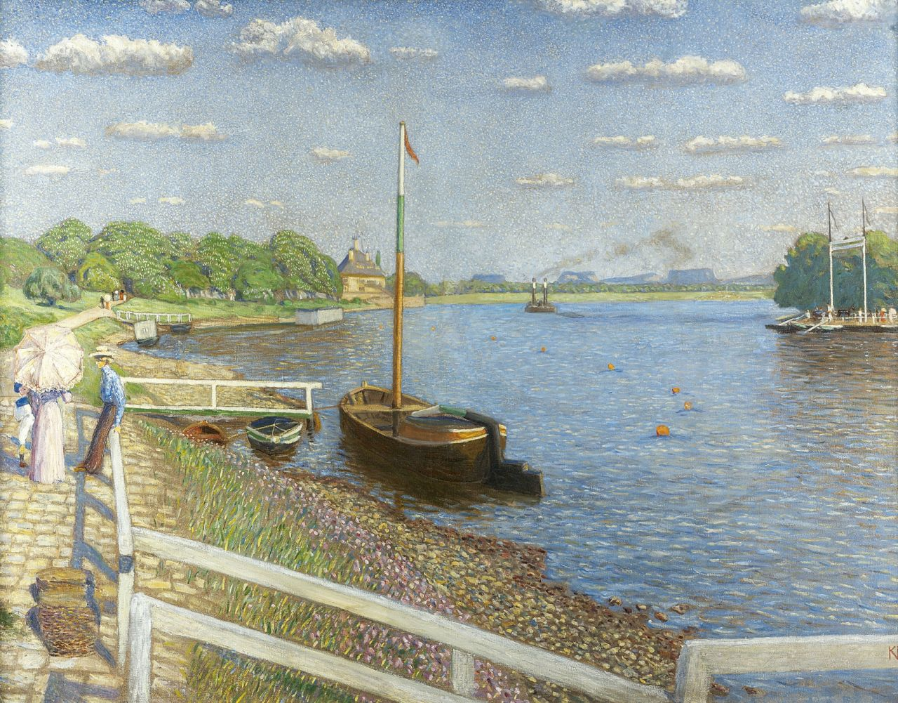 Kasper Niehaus | Sunday along the river, oil on canvas, 109.2 x 140.0 cm, signed with monogram l.r. and dated '09