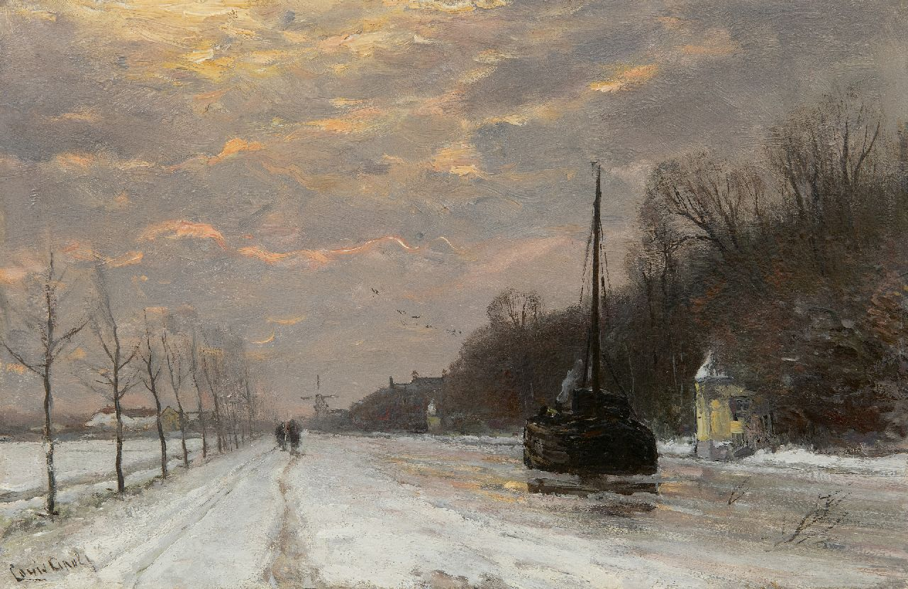 Apol L.F.H.  | Lodewijk Franciscus Hendrik 'Louis' Apol | Paintings offered for sale | A barge on the river Trekvliet in winter, oil on panel 27.5 x 42.1 cm, signed l.l.