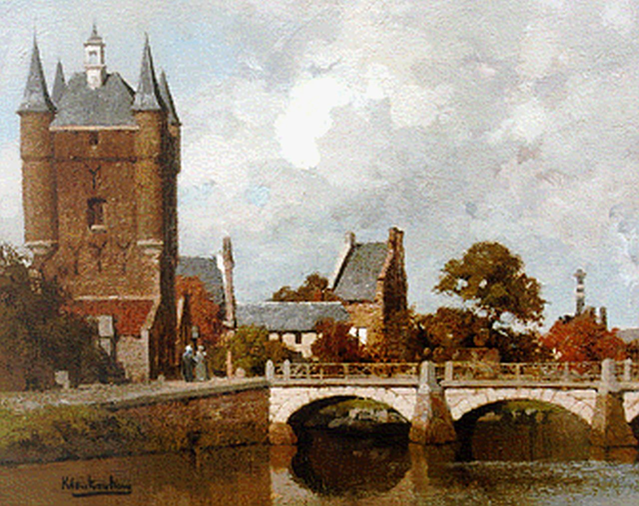 Klinkenberg J.C.K.  | Johannes Christiaan Karel Klinkenberg, View of the Zuydthavenpoort, Zierikzee, oil on panel 20.0 x 27.0 cm, signed l.r.