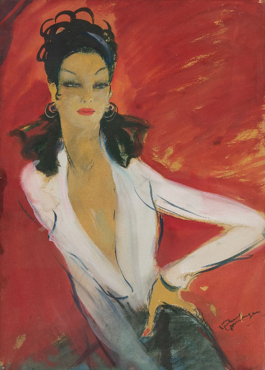 Domergue J.G.  | Jean-Gabriel Domergue | Watercolours and drawings offered for sale | Agnes in a white blouse, gouache on paper 52.0 x 38.0 cm, signed l.r.