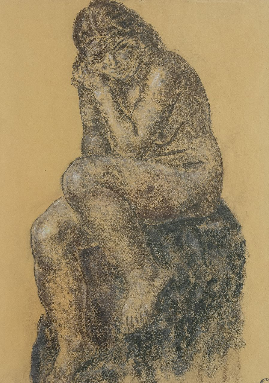 Gestel L.  | Leendert 'Leo' Gestel | Watercolours and drawings offered for sale | Seated naked, pastel on paper 64.0 x 45.5 cm