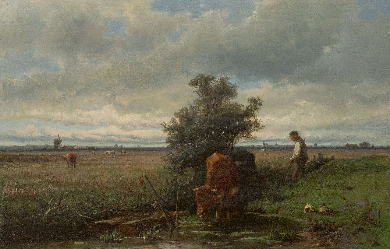 Mauve A.  | Anthonij 'Anton' Mauve | Paintings offered for sale | Drinking cows, oil on canvas 41.5 x 63.5 cm, signed l.l. and painted ca. 1870