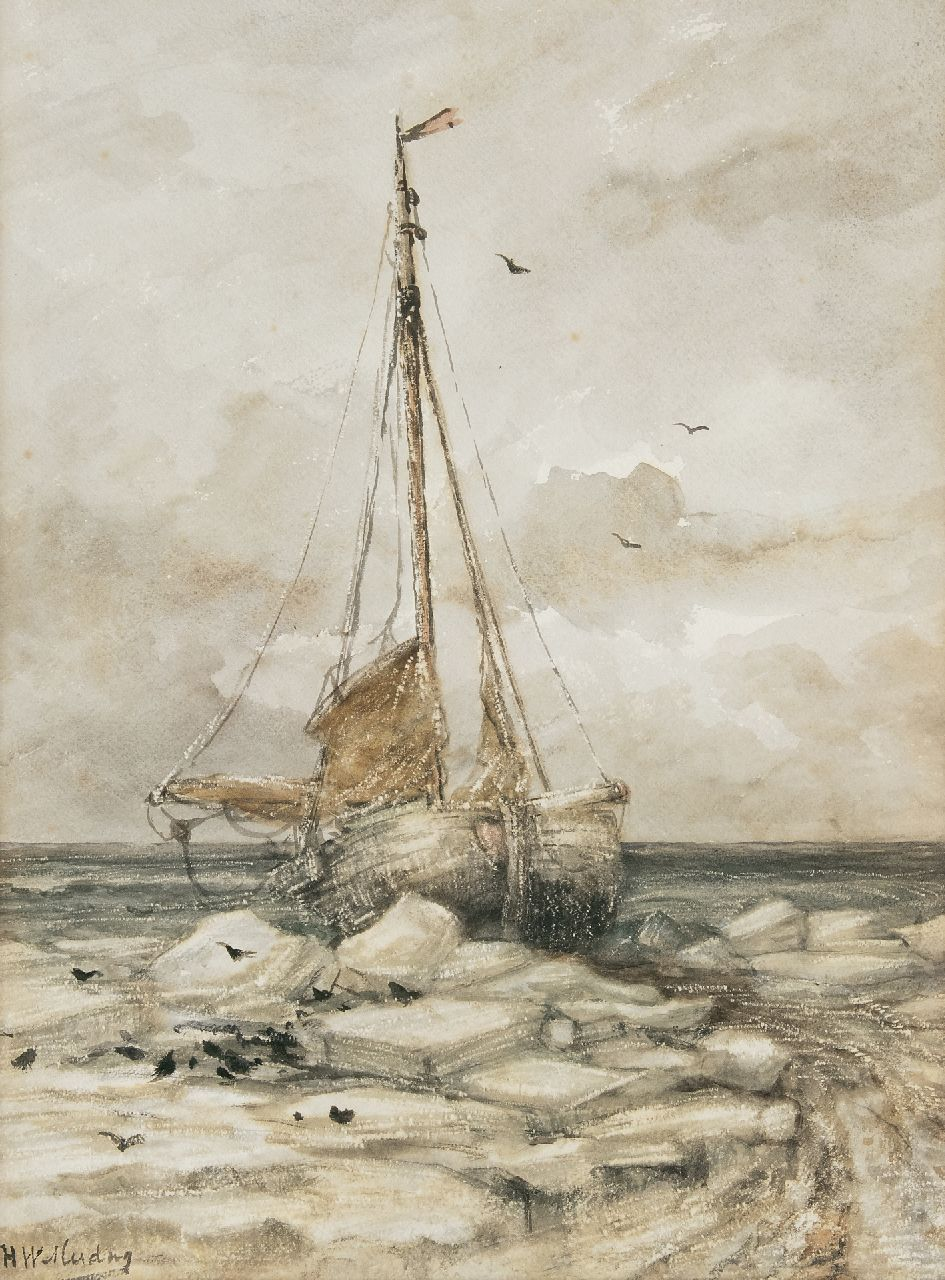 Mesdag H.W.  | Hendrik Willem Mesdag, Fishing boat on the beach between ice floes, watercolour on paper 53.0 x 39.7 cm, signed l.l. and painted ca. 1891