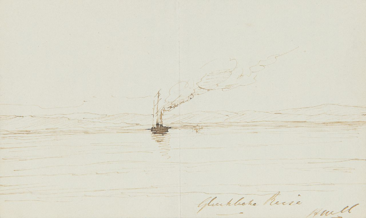 Mesdag H.W.  | Hendrik Willem Mesdag, Glückliche Reise, pen and Indian ink on paper 11.5 x 18.5 cm, signed l.r. with initials