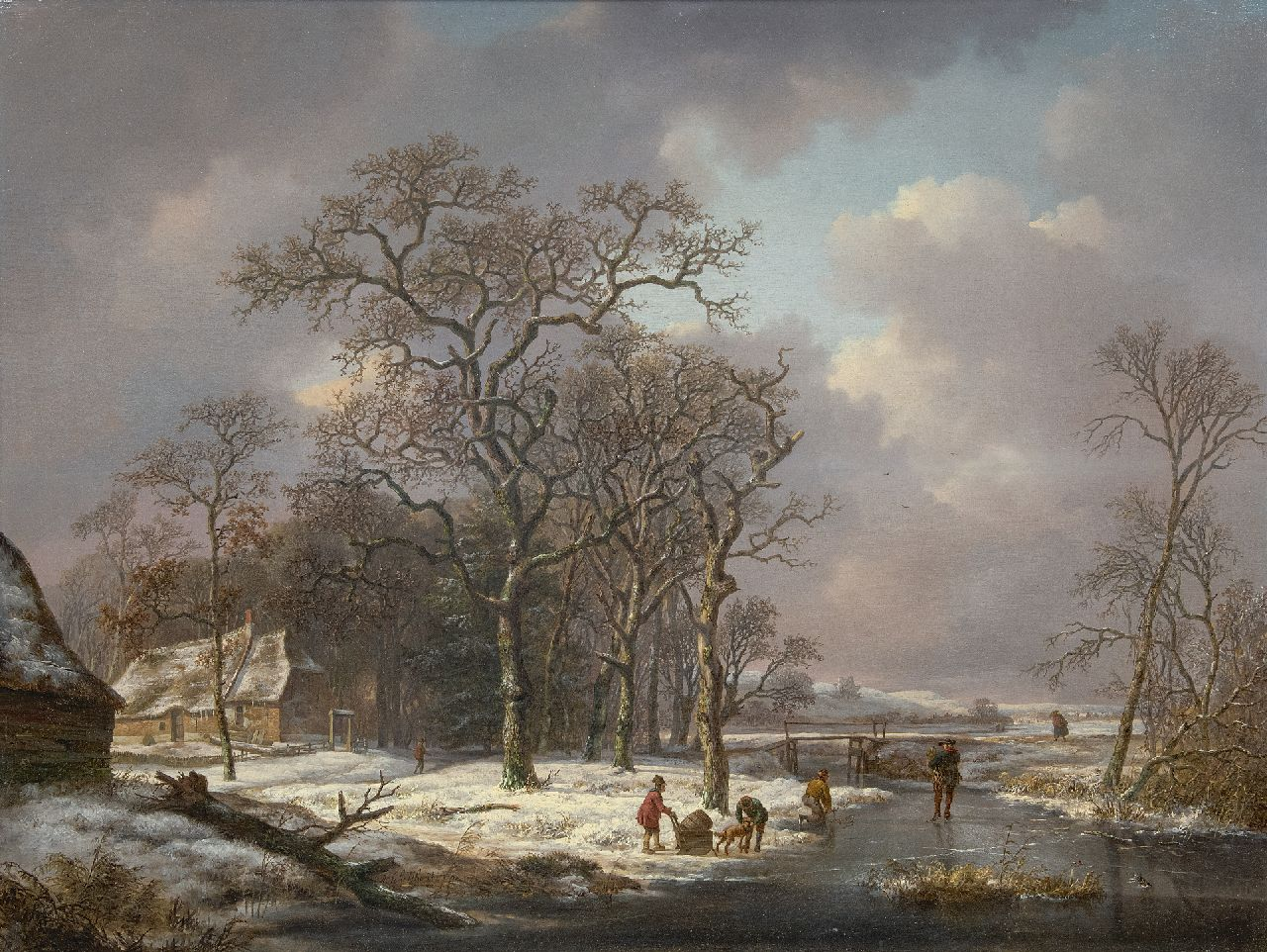 Schelfhout A.  | Andreas Schelfhout | Paintings offered for sale | A snowy landscape with figures on a frozen ditch, oil on panel 53.2 x 71.0 cm, signed l.c. and painted ca. 1815-1820