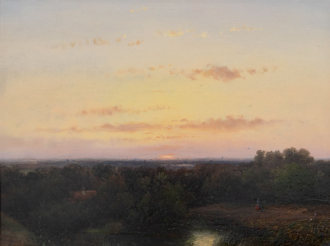 Schelfhout A.  | Andreas Schelfhout | Paintings offered for sale | Panoramic landscape at sunset, oil on panel 21.8 x 29.1 cm, signed l.l. and dated '51
