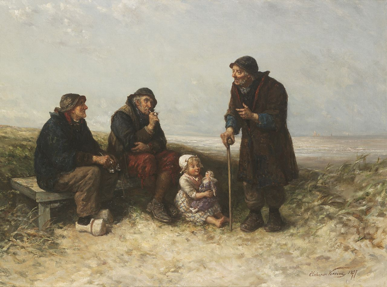 Elchanon Verveer | A good advice, oil on canvas, 68.9 x 91.7 cm, signed l.r. and dated 1877