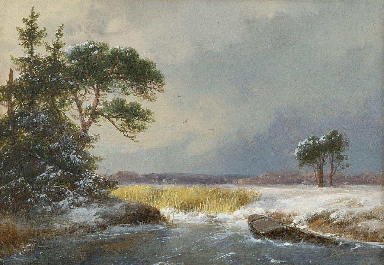 Schelfhout A.  | Andreas Schelfhout | Paintings offered for sale | A snowy winter landscape, oil on panel 13.7 x 19.5 cm, signed l.l. and dated 1857