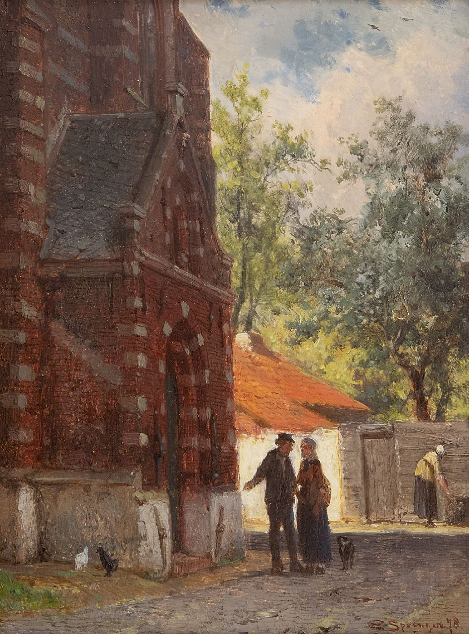Springer C.  | Cornelis Springer | Paintings offered for sale | A town view with the portal of the Kleine Kerk in Edam, oil on panel 16.2 x 12.0 cm, signed l.r. and dated '78