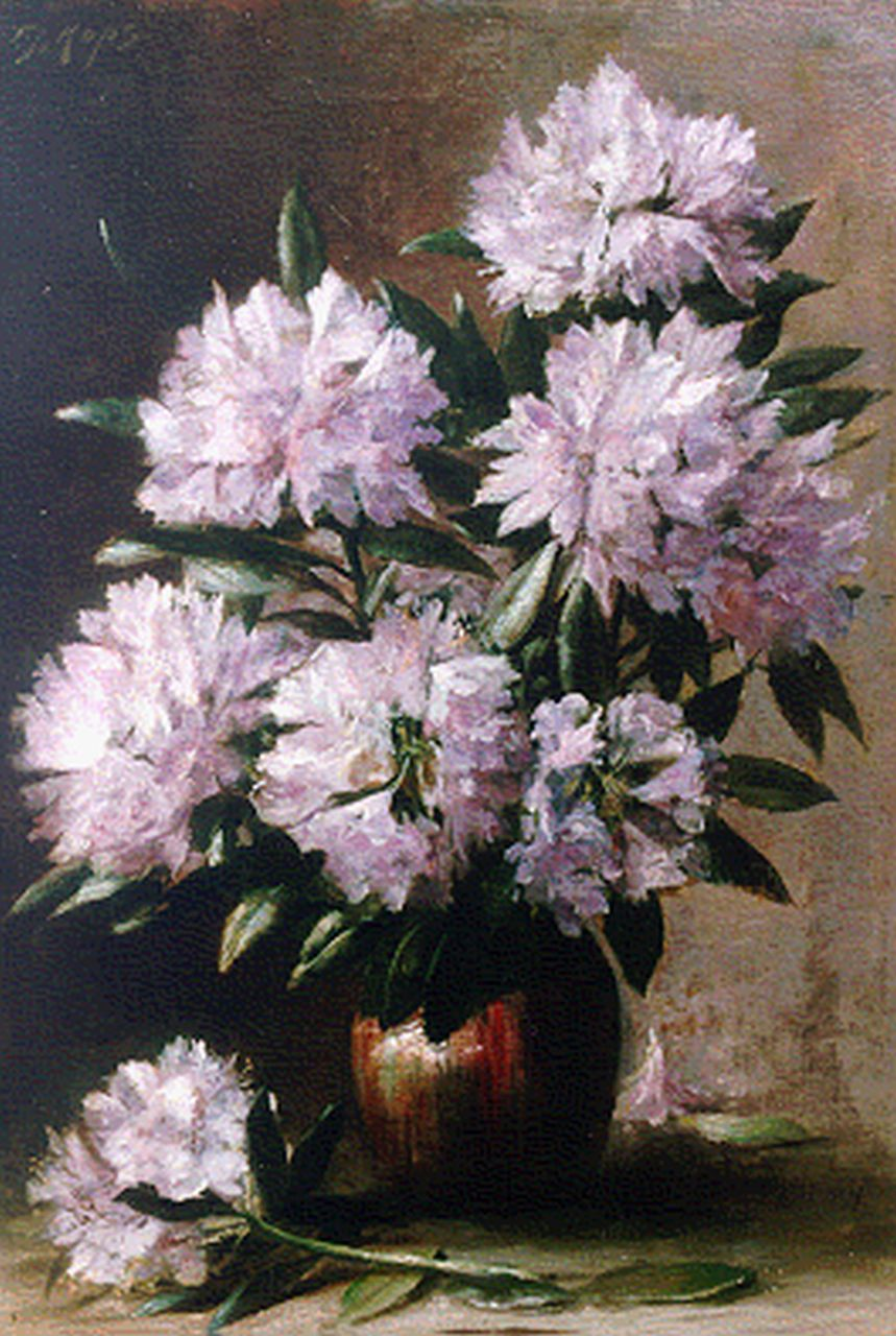 Frans Kops | Rhodondendrons in a vase, oil on canvas, 46.5 x 68.5 cm, signed u.l. and dated 1916