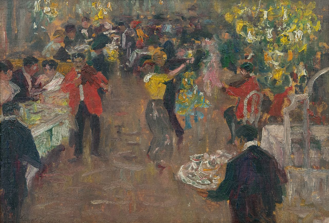 Elie Pavil | Diner dansant, oil on panel, 23.3 x 33.0 cm, signed l.l. and dated 1910