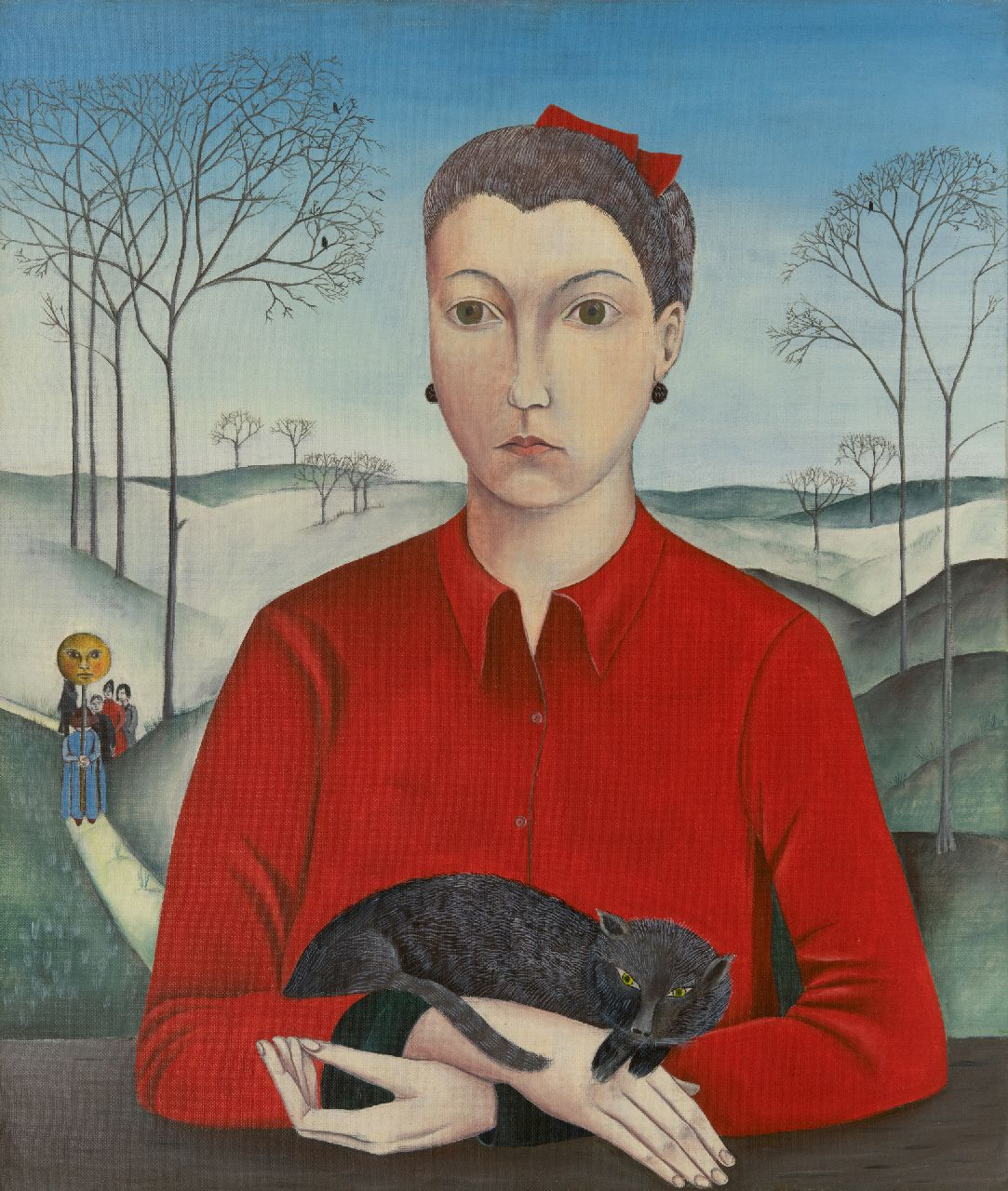 Dieter Matthäus | Woman with red blouse and cat, oil on canvas, 65.2 x 55.3 cm, signed on the reverse and dated on the reverse 9 november 1964