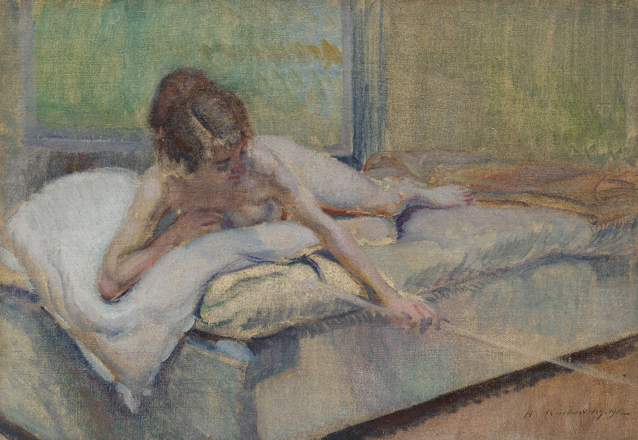 Karbowsky A.  | Adrien Karbowsky | Paintings offered for sale | Female nude on a bed, oil on canvas 38.3 x 55.1 cm, signed l.r. and dated 1912