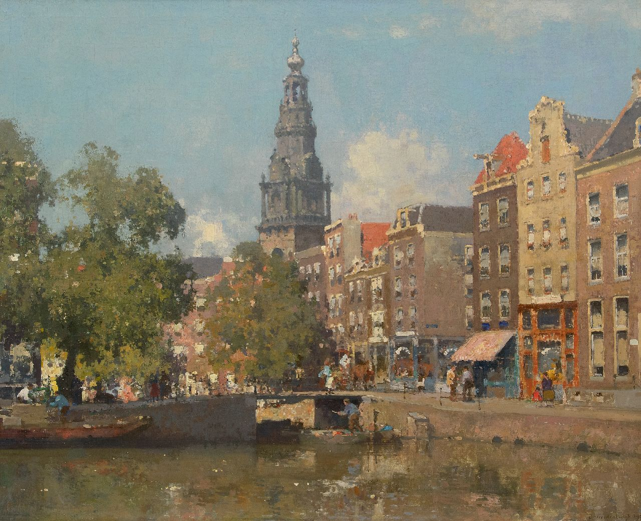 Vreedenburgh C.  | Cornelis Vreedenburgh | Paintings offered for sale | A view of the Raamgracht and the tower of the Zuiderkerk, Amsterdam, oil on canvas 77.0 x 94.0 cm, signed l.r. and dated 1927