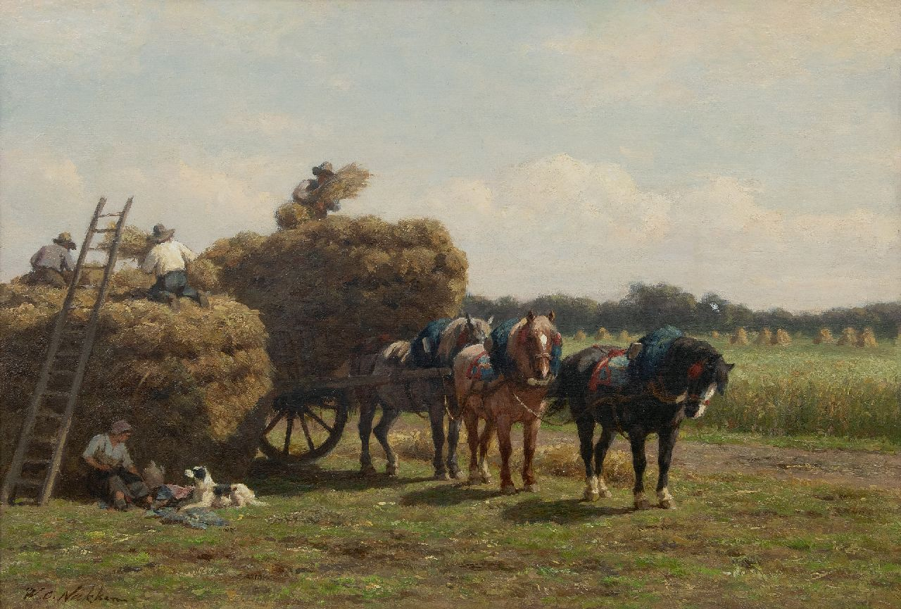 Willem Carel Nakken | Haytime, oil on canvas, 52.1 x 76.6 cm, signed l.l.