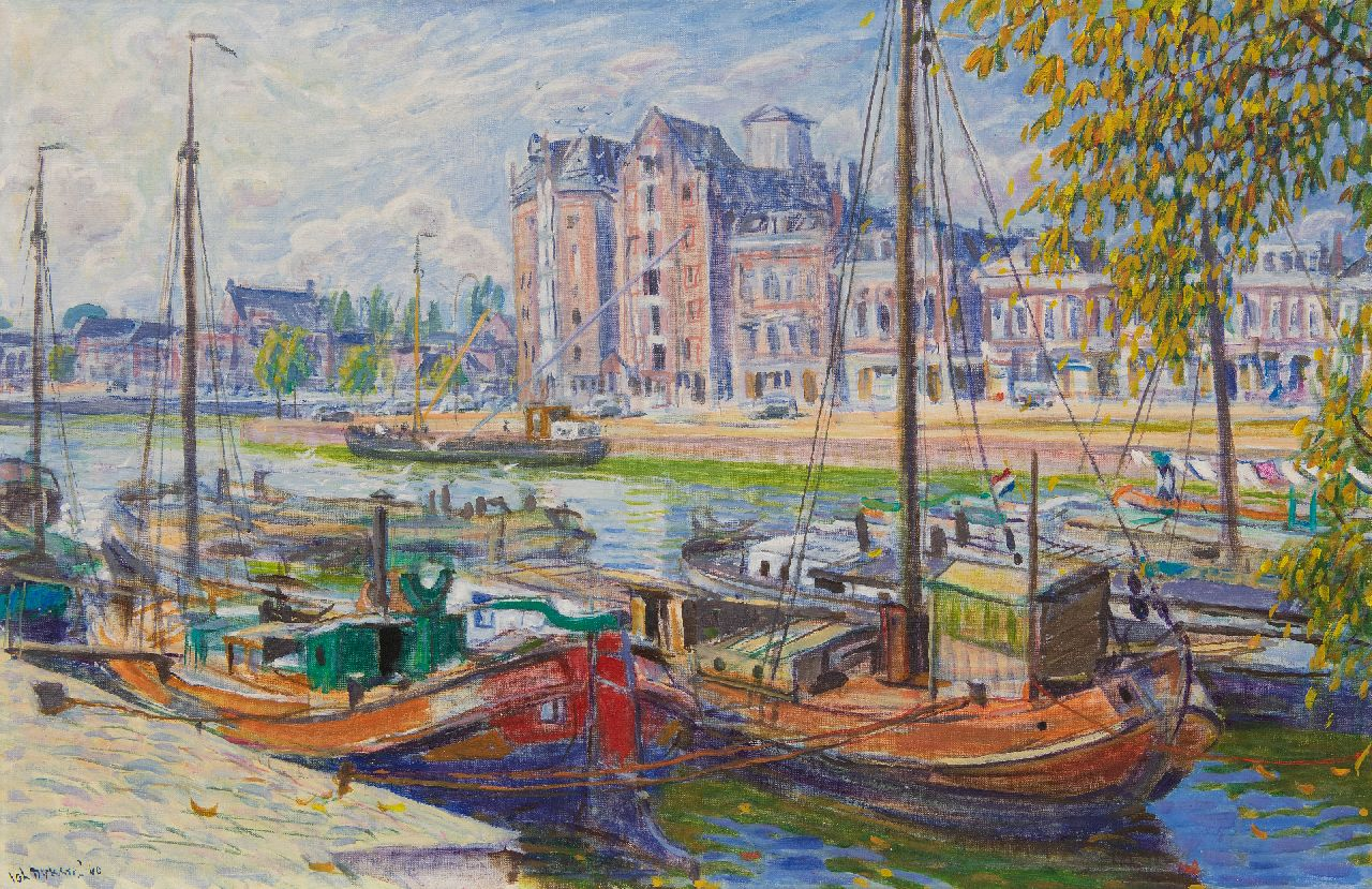 Johan Dijkstra | The Westerhaven in Groningen, oil on canvas, 60.1 x 92.0 cm, signed l.l. and dated '60