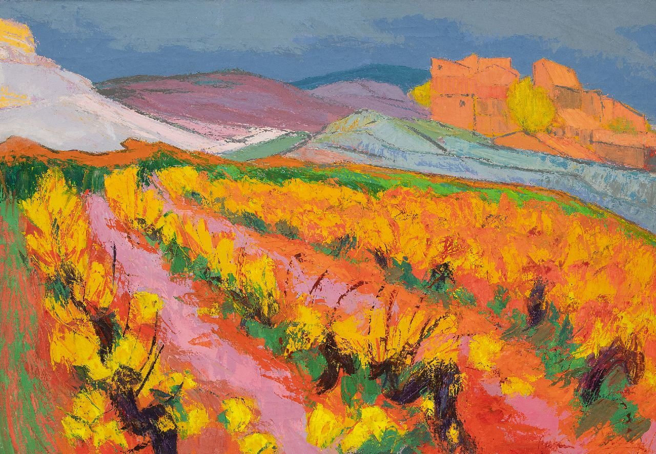 Vries J. de | Jannes de Vries | Paintings offered for sale | Spanish landscape, oil on canvas 70.2 x 100.1 cm, signed l.r.