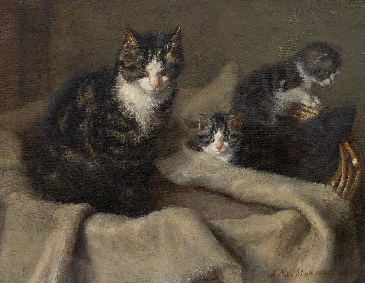 Anna Maria Kruijff | Mother cat with two kittens, oil on canvas, 35.2 x 45.4 cm, signed l.r. and dated 1908