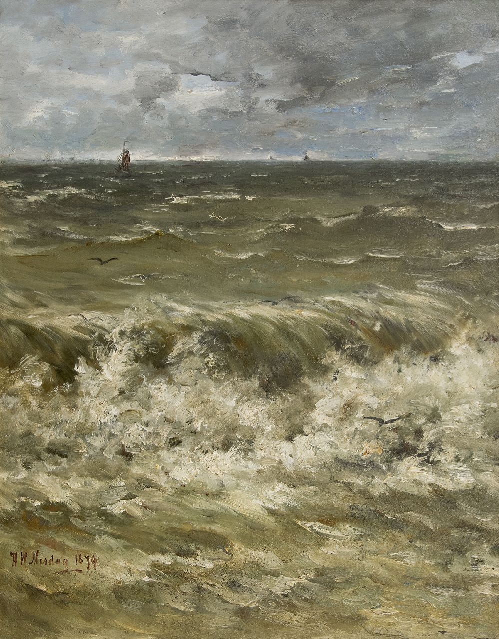 Mesdag H.W.  | Hendrik Willem Mesdag | Paintings offered for sale | Breakers with ships in the distance, oil on canvas laid down on panel 88.6 x 69.5 cm, signed l.l. and dated 1879