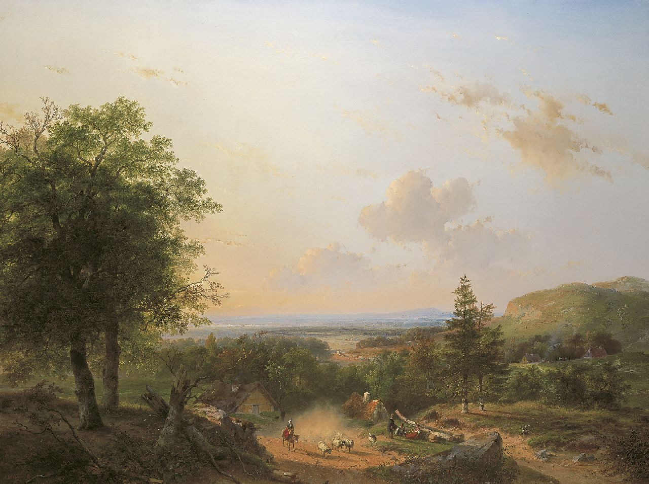Schelfhout A.  | Andreas Schelfhout | Paintings offered for sale | A shepherdess and her flock in a hilly summer landscape, oil on canvas 110.4 x 146.0 cm, signed l.l. and painted 1849
