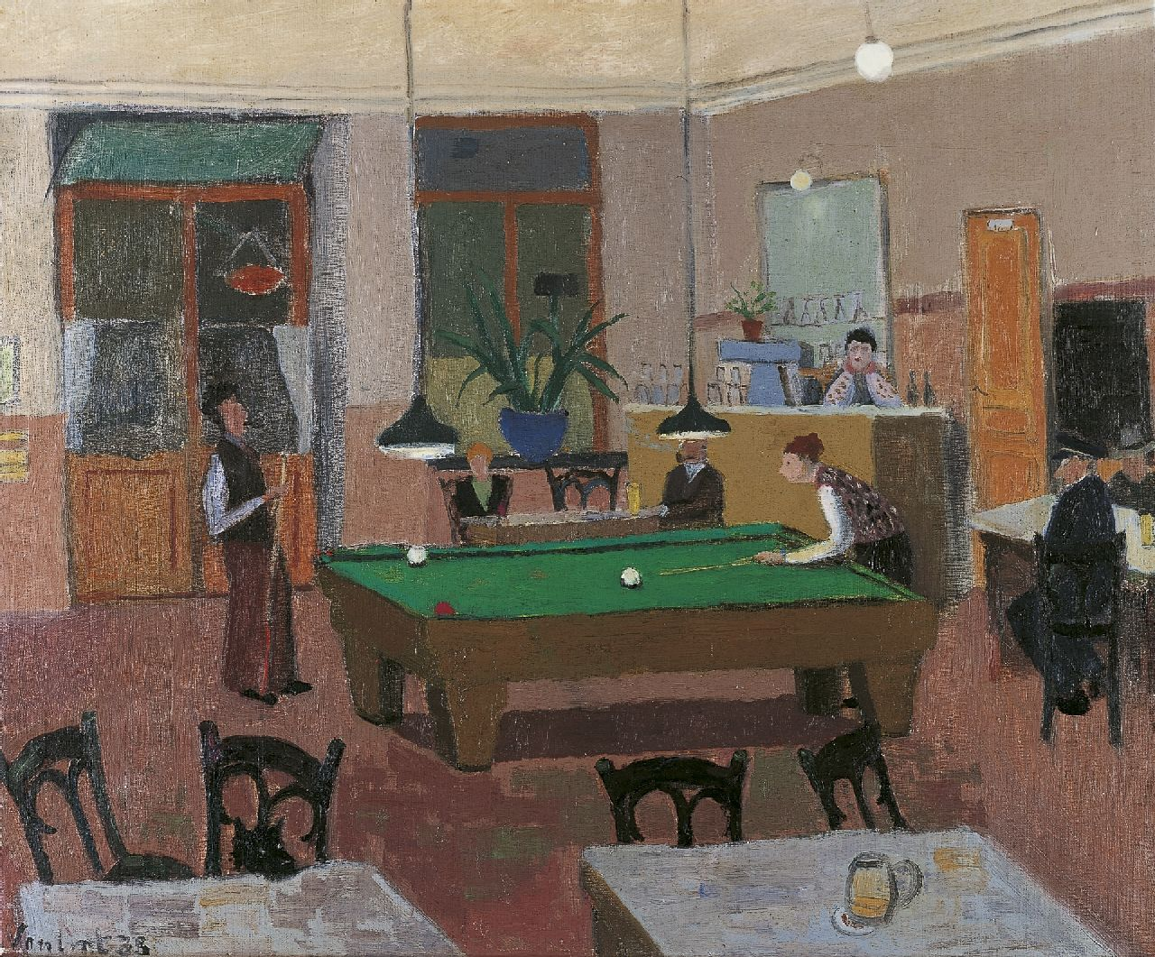 Louis Noël van Lint | The billiard players, oil on canvas, 57.9 x 70.3 cm, signed l.l. and dated '33