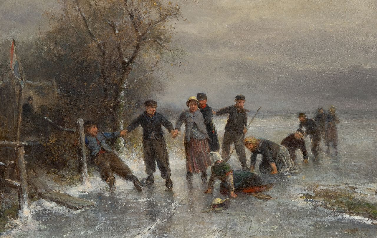 Kate J.M.H. ten | Johan 'Mari' Henri ten Kate | Paintings offered for sale | A fall on the ice, oil on canvas 41.0 x 63.9 cm, signed l.r.