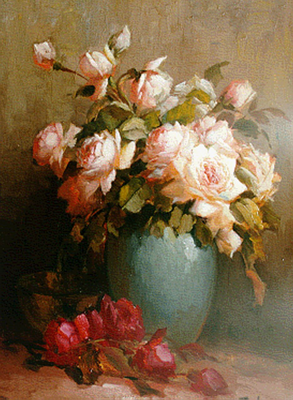 Terlouw C.  | Cornelis 'Kees' Terlouw, Roses in a vase, oil on canvas 58.0 x 42.8 cm, signed l.r.