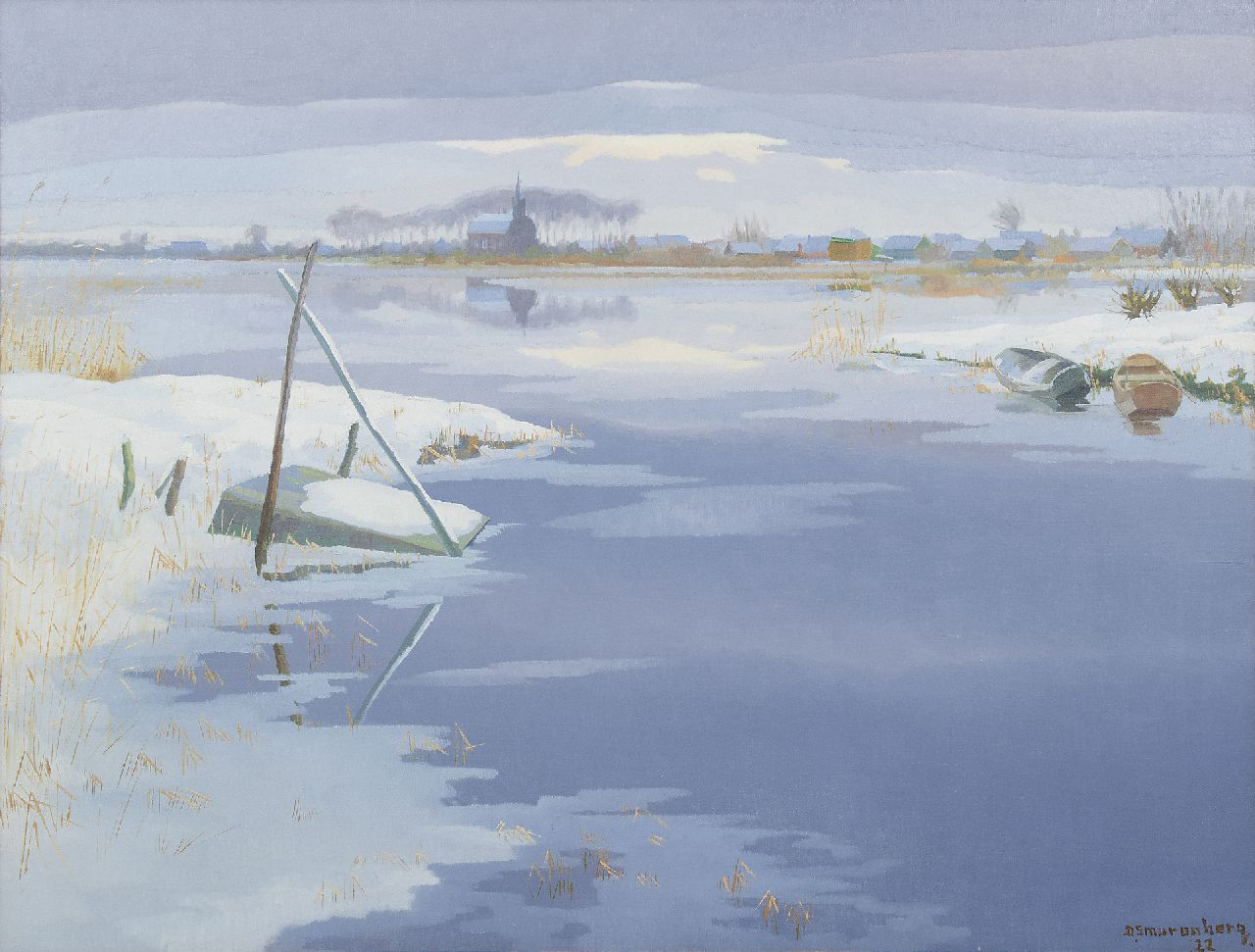 Smorenberg D.  | Dirk Smorenberg, View of the Vuntusplas in winter, oil on canvas 73.0 x 95.2 cm, signed l.r. and dated '22
