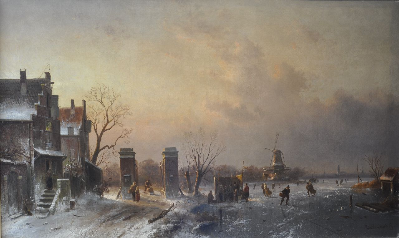 Leickert C.H.J.  | 'Charles' Henri Joseph Leickert, Skaters and a 'koek-en-zopie' by a tollgate, oil on canvas 51.3 x 85.3 cm, signed l.r.