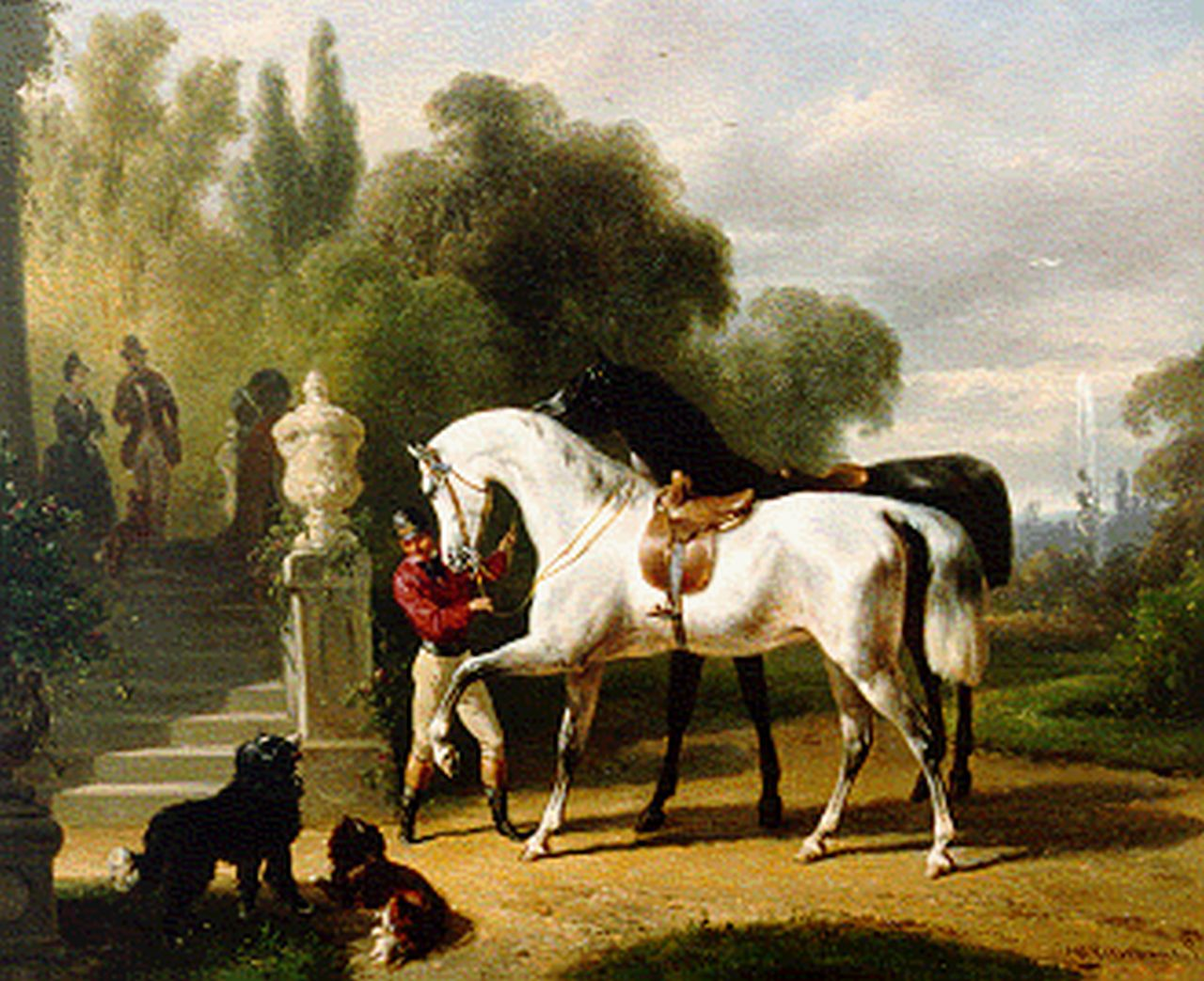 Verschuur W.  | Wouterus Verschuur, Preparing for a ride, oil on panel 23.3 x 28.3 cm, signed l.r.