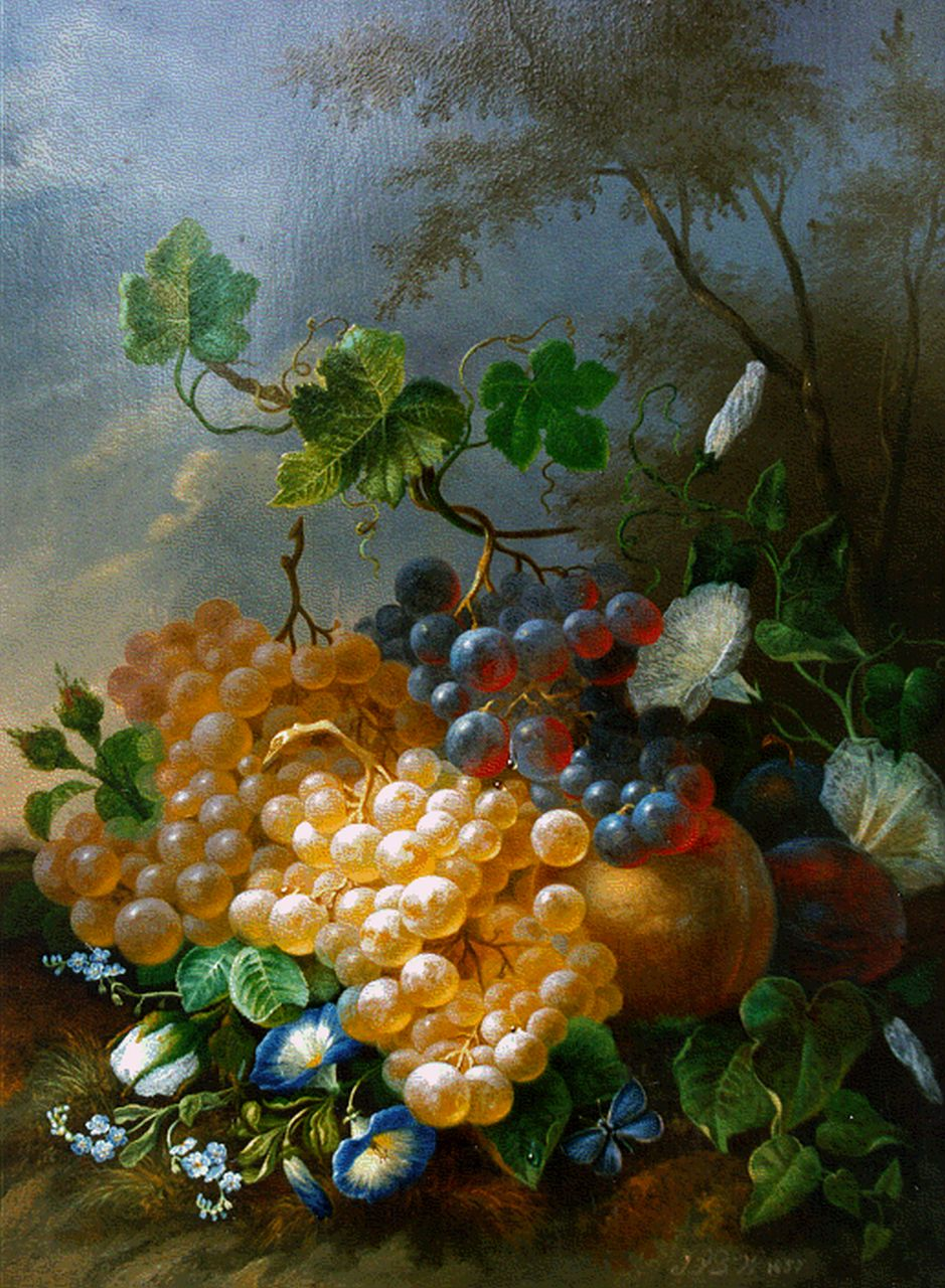 Jan van der Waarden | A still life with flowers, peaches and grapes, oil on panel, 34.6 x 26.7 cm, signed l.r. with initials and dated 1857