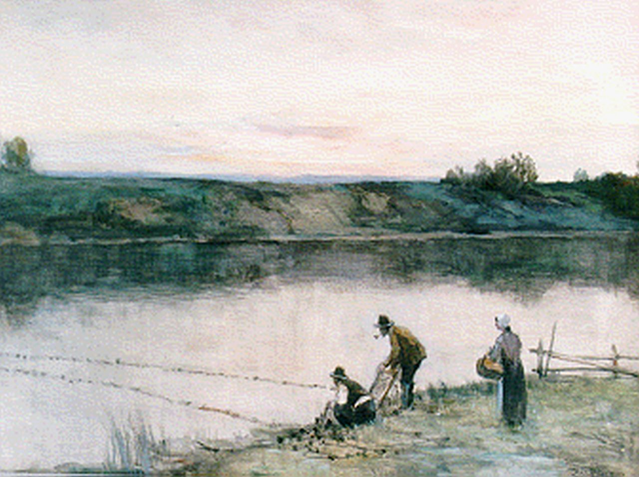 Höppe F.B.  | Ferdinand Bernhard Höppe, Anglers on the riverbank, watercolour on paper 46.5 x 64.5 cm, signed l.r.