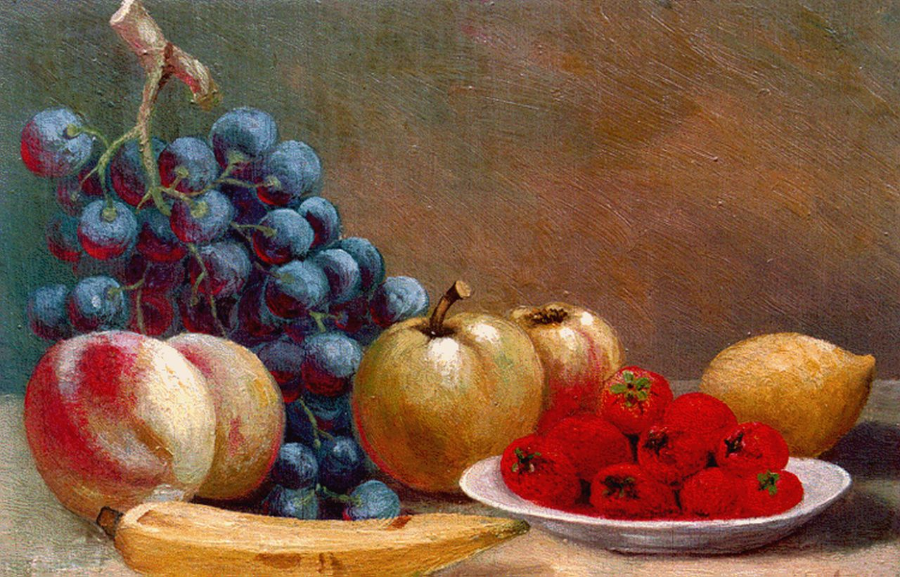 Mulder | A still life with strawberries, grapes and a lemon, oil on panel, 19.8 x 28.4 cm, signed l.r.