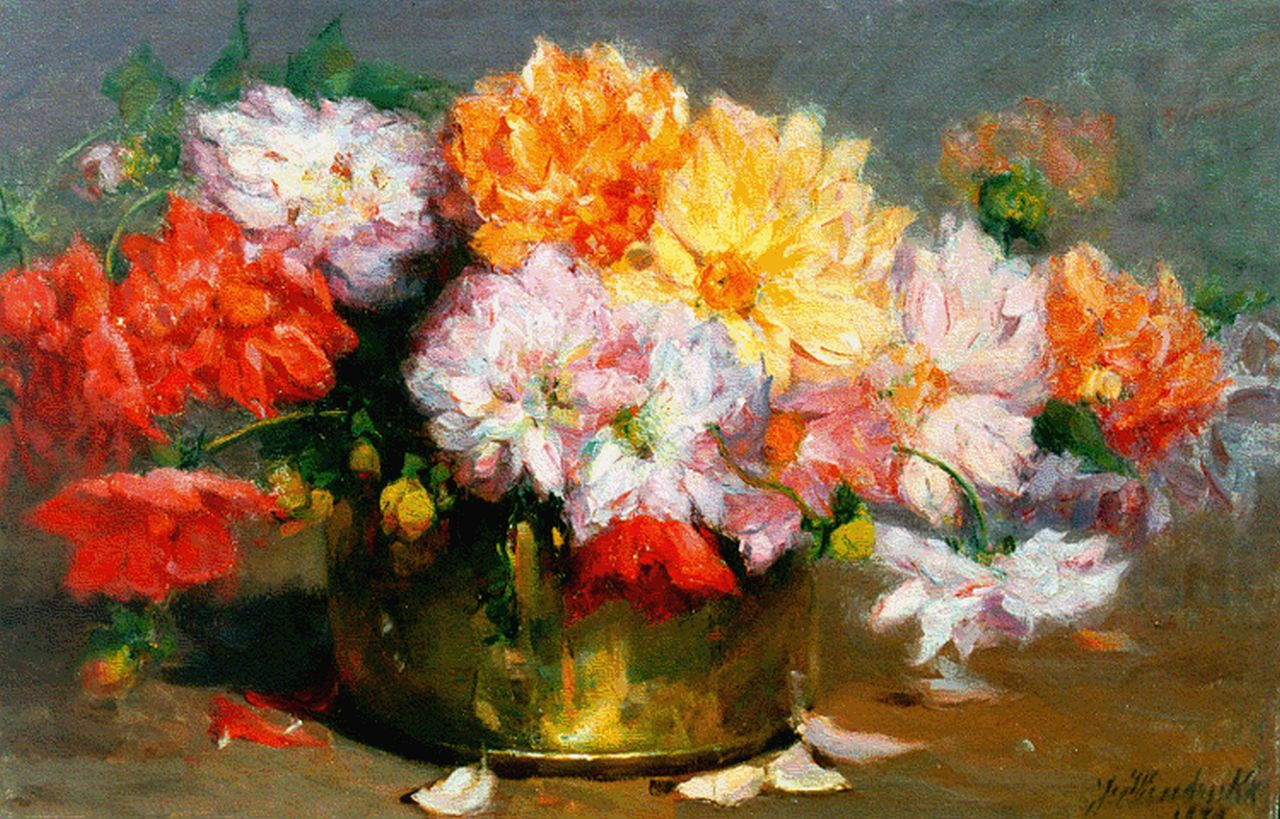 Josephina Hendrickx | A still life with dahlias, oil on canvas, 48.7 x 73.7 cm, signed l.r. and dated 1920
