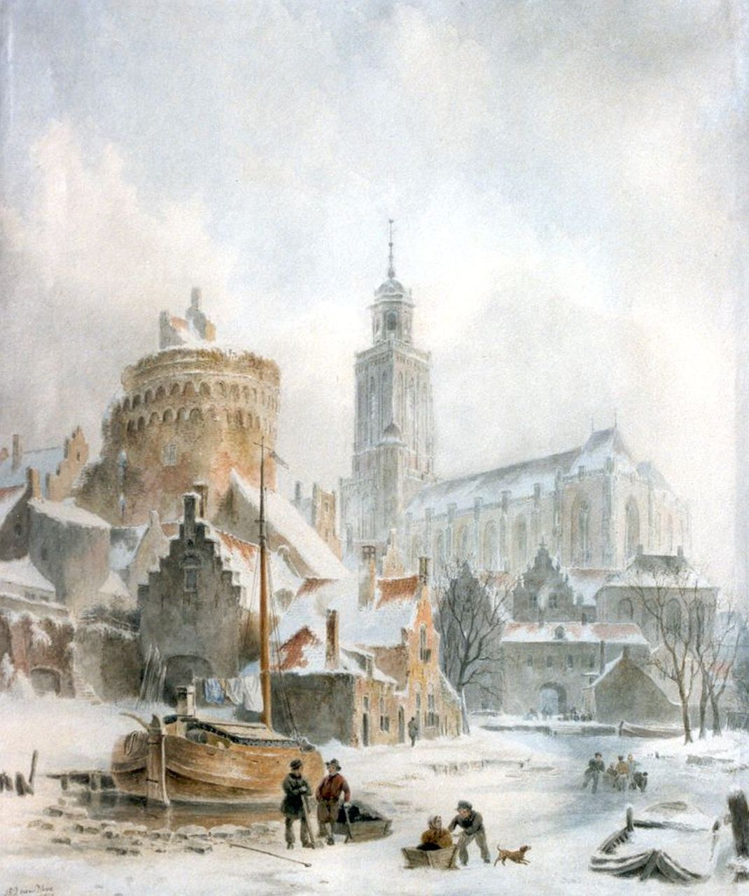 Hove B.J. van | Bartholomeus Johannes 'Bart' van Hove, A view of the city gate and church of Deventer, watercolour on paper 47.0 x 40.0 cm, signed l.l. and dated 1845