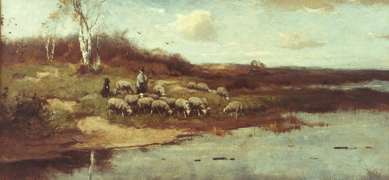 Scherrewitz J.F.C.  | Johan Frederik Cornelis Scherrewitz, A shepherd and flock, oil on canvas 40.0 x 80.3 cm, signed l.l.