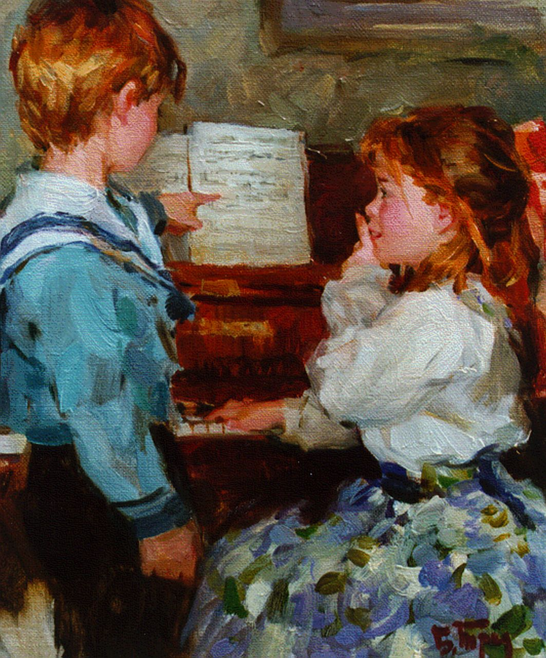 Boris Trofimenko | Playing the piano, oil on canvas, 34.8 x 26.8 cm, signed l.r.