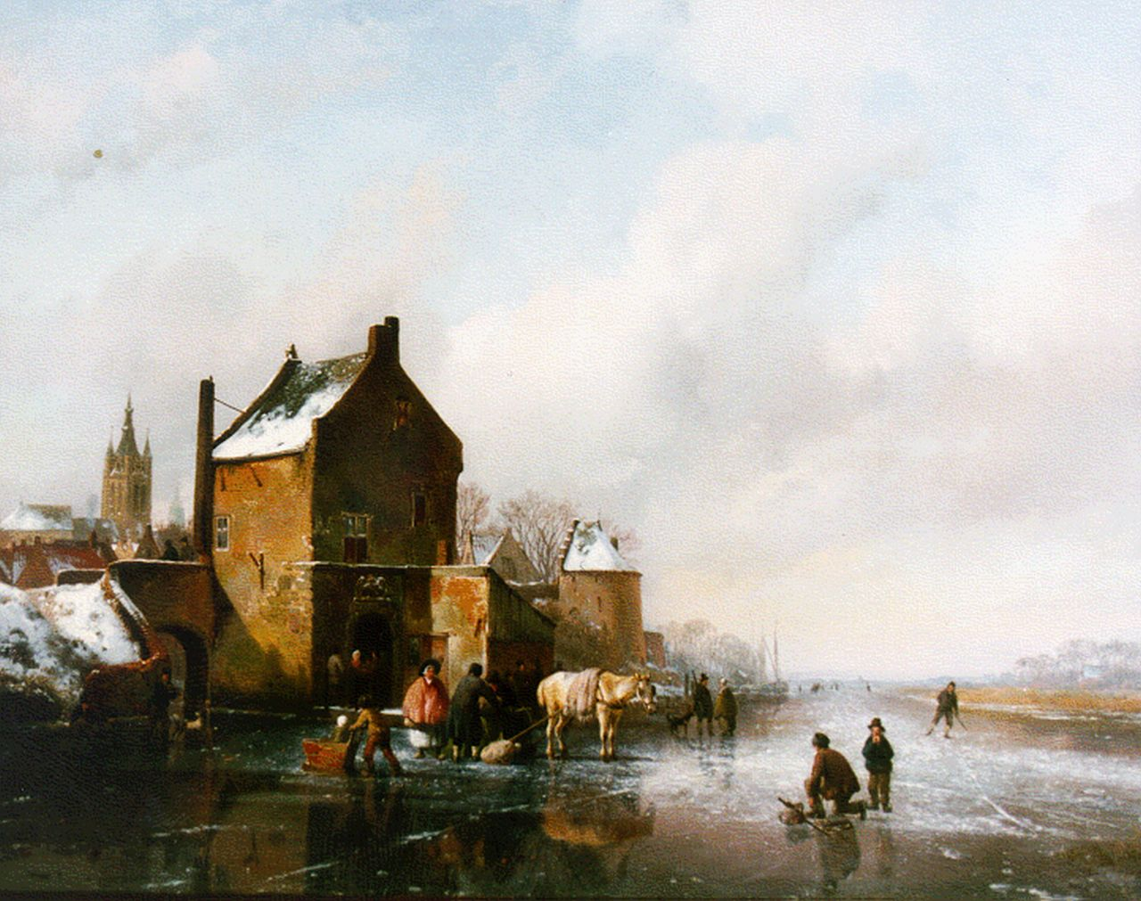 Sande Bakhuyzen H. van de | Hendrikus van de Sande Bakhuyzen, A frozen waterway, Delft in the distance, oil on panel 43.7 x 56.8 cm, signed l.l. and dated 1836
