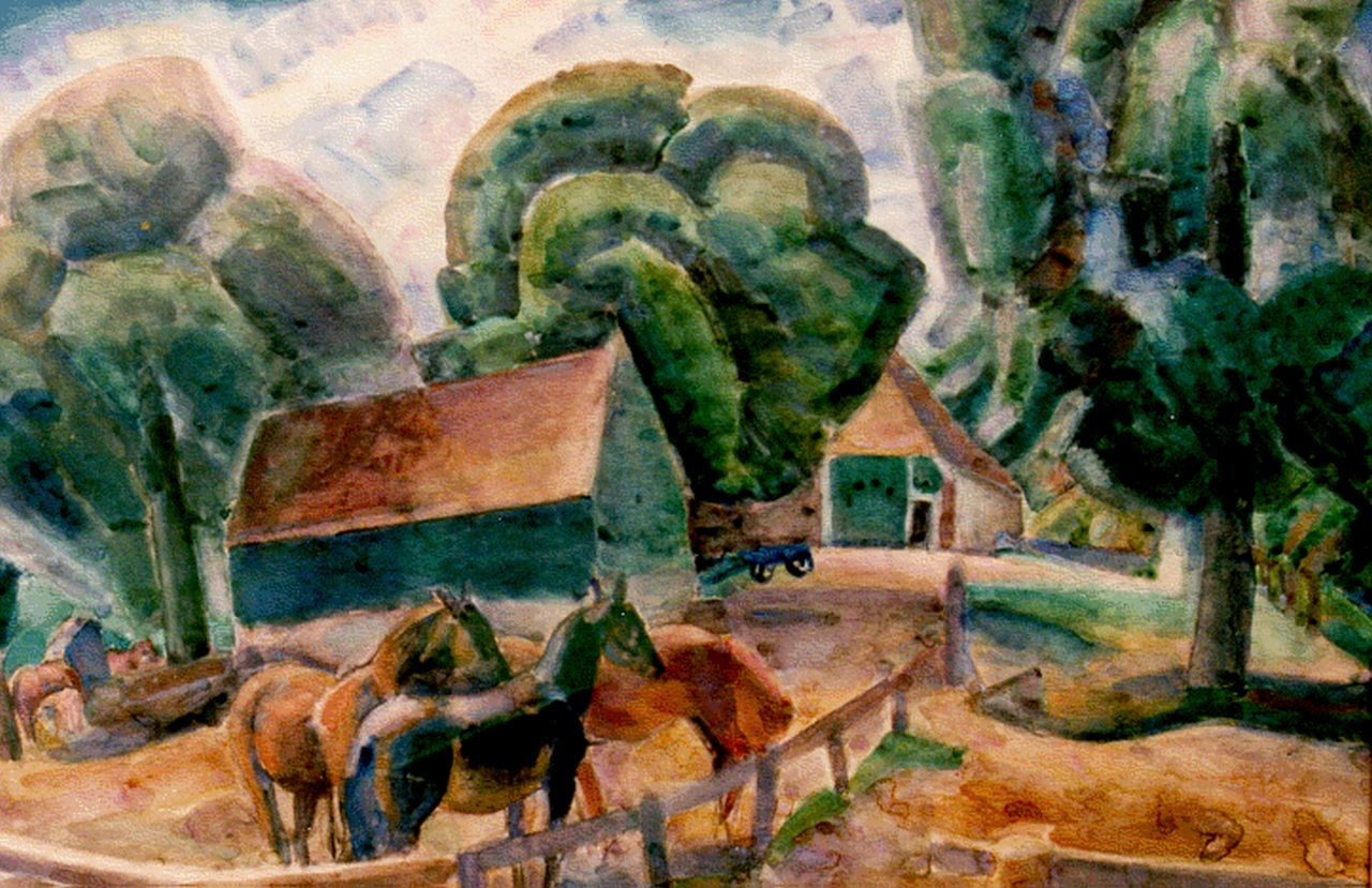 Gestel L.  | Leendert 'Leo' Gestel, Horses by a farm, watercolour on paper 70.0 x 95.5 cm, signed l.r. and dated 1922
