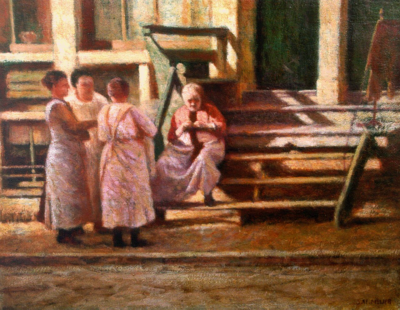 Meijer S.  | Salomon 'Sal' Meijer, Women in a sunlit street, Amsterdam, oil on panel 21.2 x 27.0 cm, signed l.r.