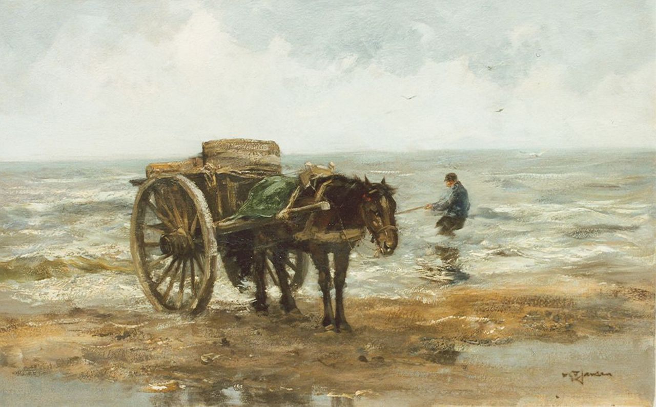 Jansen W.G.F.  | 'Willem' George Frederik Jansen, The shellfisher, oil on canvas 45.0 x 73.0 cm, signed l.r.