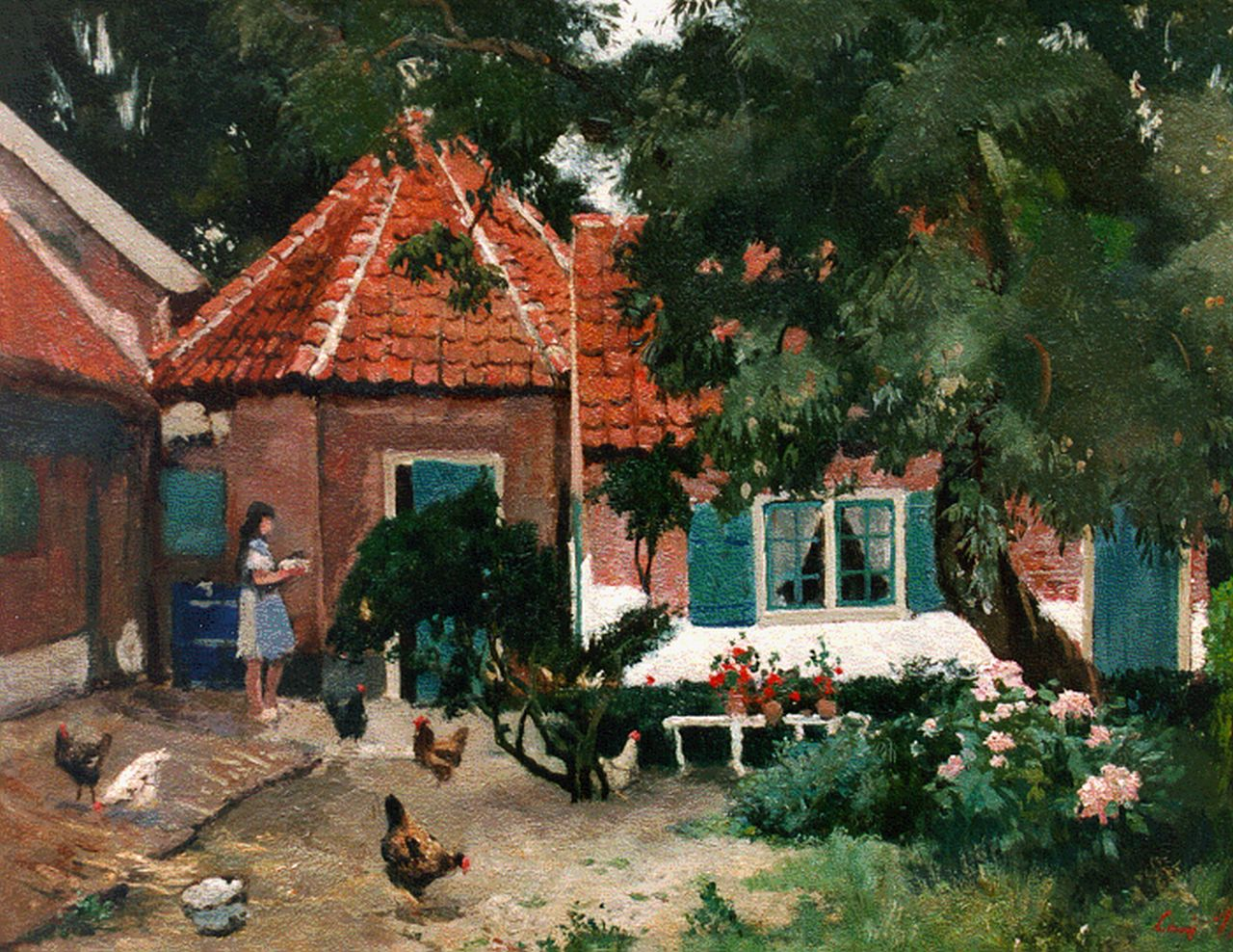 Jean 'Louis' Henri Bron | A farm-yard with chickens, 29.9 x 37.7 cm, signed l.r.