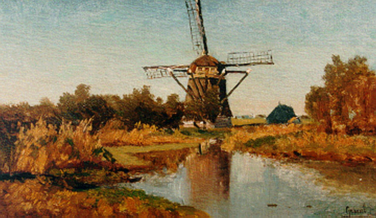 Gabriel P.J.C.  | Paul Joseph Constantin 'Constan(t)' Gabriel, A windmill along a waterway, Abcoude, oil on canvas laid down on panel 21.8 x 34.7 cm, signed l.r.