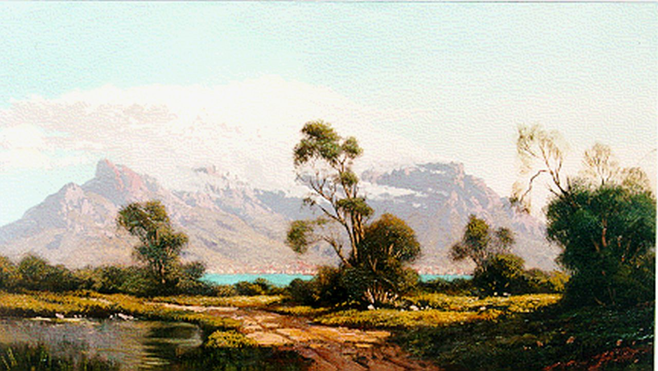 Jongh M.J. de | Martinus Johannes 'Tinus' de Jongh, The 'Tafelberg', South Africa, oil on canvas 23.0 x 42.0 cm, signed l.r.