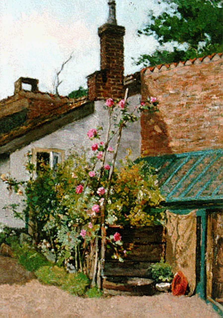 Johannes Cornelis Pabst | A yard with hollyhocks, oil on canvas laid down on panel, 32.0 x 21.8 cm, signed l.l.