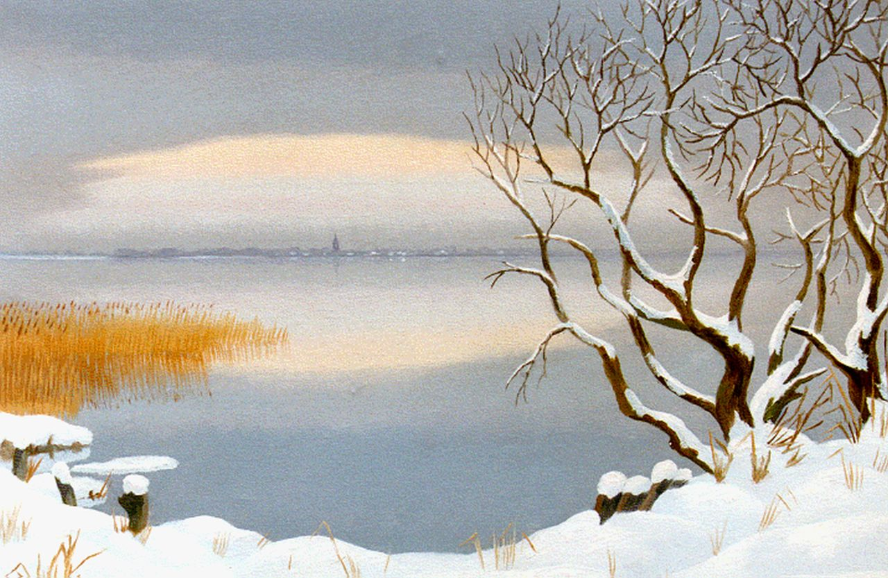 Smorenberg D.  | Dirk Smorenberg, The Loosdrechtse Plassen in winter, oil on canvas 45.2 x 60.0 cm, signed l.r. and painted between 1949-1950