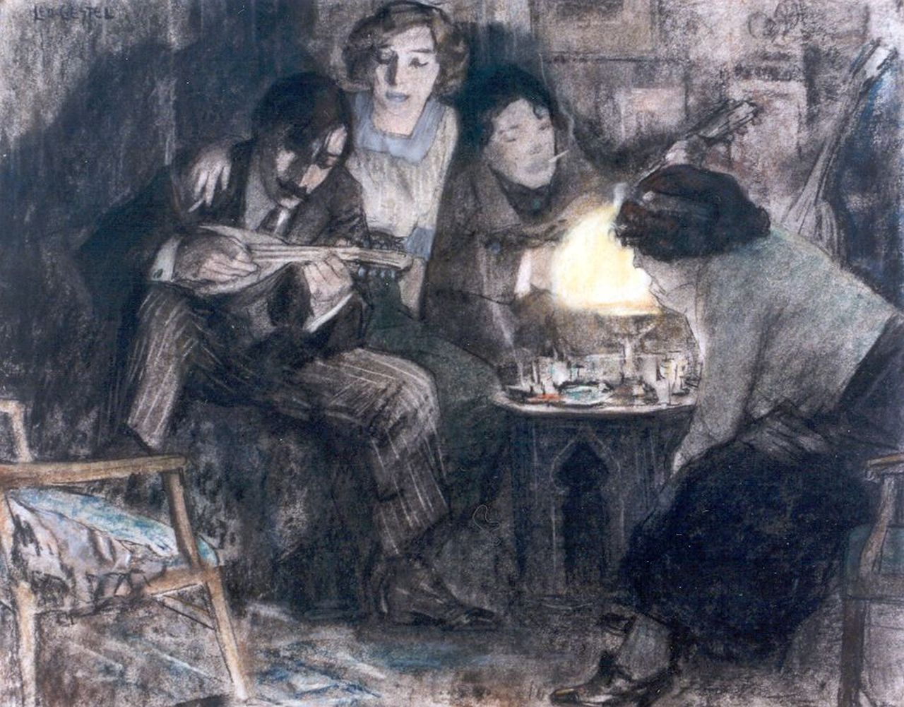 Gestel L.  | Leendert 'Leo' Gestel, Having a party at the Boendermaker's house, pastel on paper 37.0 x 46.2 cm, signed u.l. and dated 1910