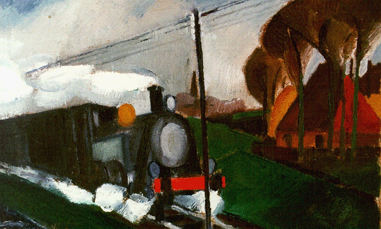 Bosma W.  | Willem 'Wim' Bosma, Approching train, oil on canvas 25.5 x 39.4 cm, signed l.l. and dated '27