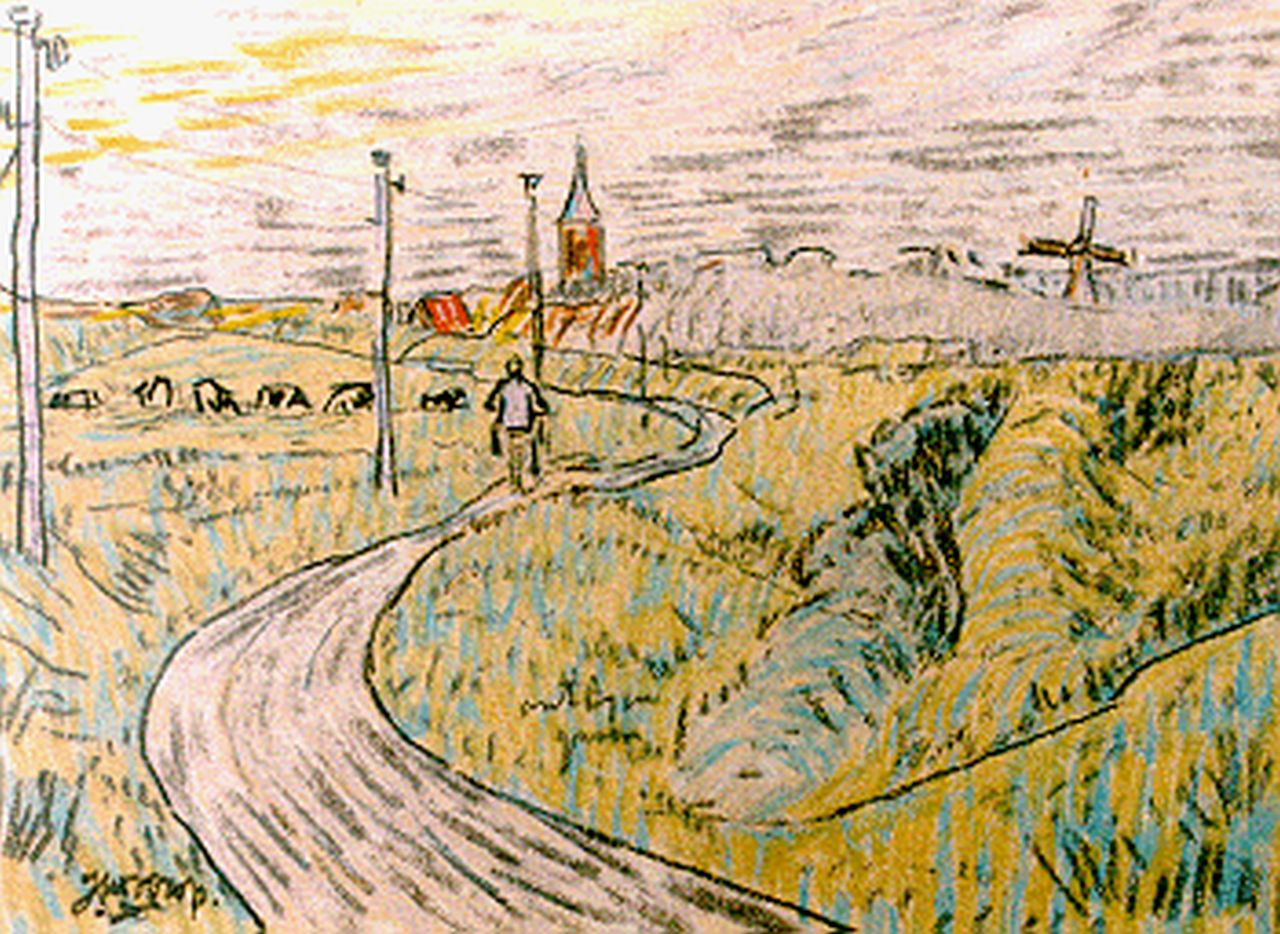 Toorop J.Th.  | Johannes Theodorus 'Jan' Toorop, Cycling in Zeeland, mixed media on paper 11.5 x 16.0 cm, signed l.l.