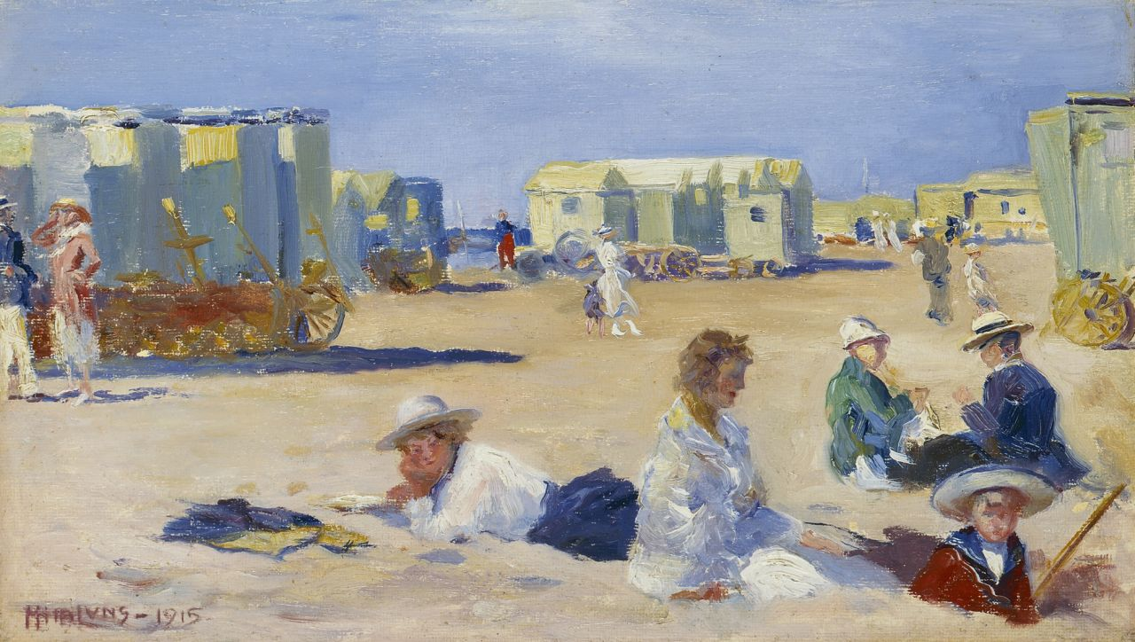 Luns H.M.  | Hubert Marie 'Huib' Luns, A sunny day at the beach, oil on canvas laid down on painter's board 19.9 x 34.4 cm, signed l.l. and dated 1915